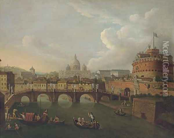 The Tiber, Rome, looking towards the Ponte Sant'Angelo and the Castel Sant'Angelo, Saint Peter's beyond Oil Painting - Antonio Joli