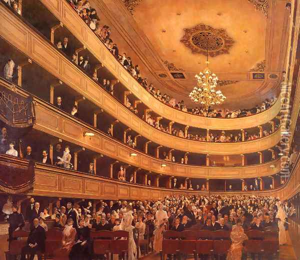Auditorium in the Old Burgtheater, Vienna Oil Painting - Gustav Klimt