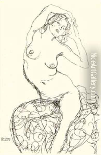 Female Nude Study Oil Painting - Gustav Klimt