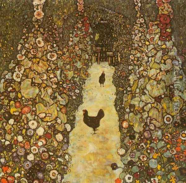 Garden Path With Chicken Oil Painting - Gustav Klimt