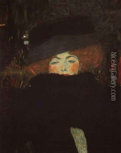 Lady With Hat And Feather Boa Oil Painting - Gustav Klimt