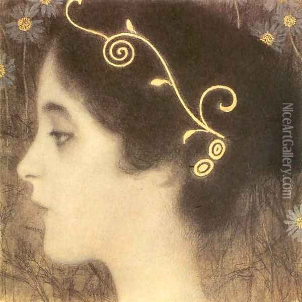 Sketch for the Allegory 'Junius' (detail) Oil Painting - Gustav Klimt
