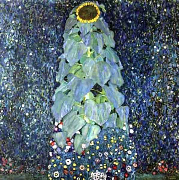 Sunflower Oil Painting - Gustav Klimt
