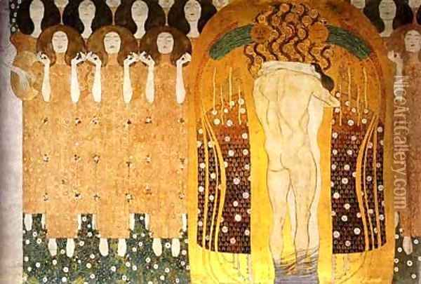 Praise To Joy The God Descended Oil Painting - Gustav Klimt