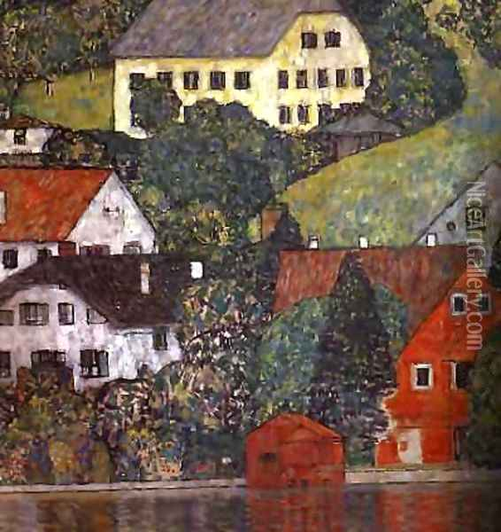 Houses In Unterach On The Attersee Oil Painting - Gustav Klimt