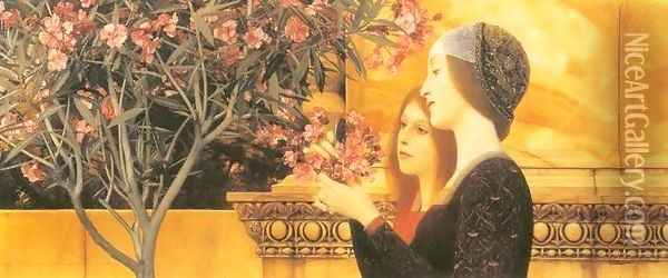 Two Girls with Oleander Oil Painting - Gustav Klimt