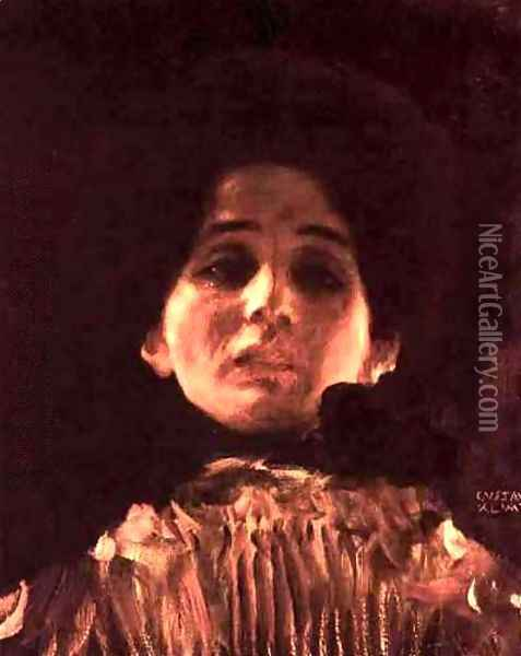 Face Portrait Of A Lady Oil Painting - Gustav Klimt