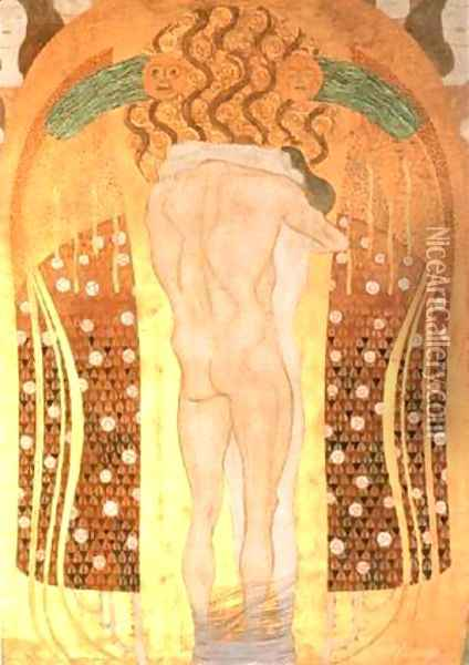 Hymn to Joy Detail from Bethoven Friezze 1902 Oil Painting - Gustav Klimt
