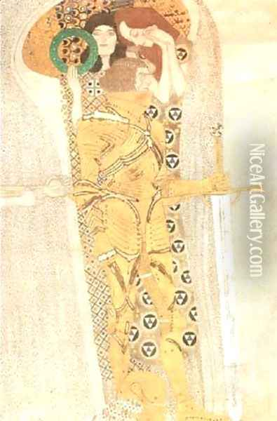 Yearning for Happiness Detail from Bethoven Frieze 1905 Oil Painting - Gustav Klimt
