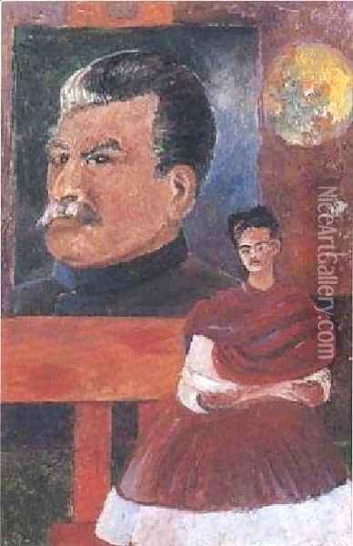 Frieda And Stalin Oil Painting - Frida Kahlo