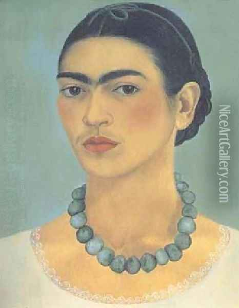 Self Portrait With Necklace Oil Painting - Frida Kahlo