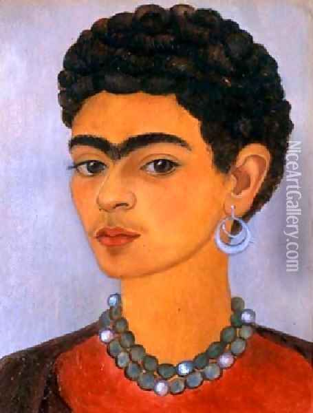 Self Portrait With Curly Hair Oil Painting - Frida Kahlo