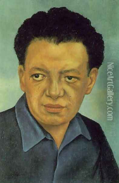 Portrait Of Diego Rivera Oil Painting - Frida Kahlo