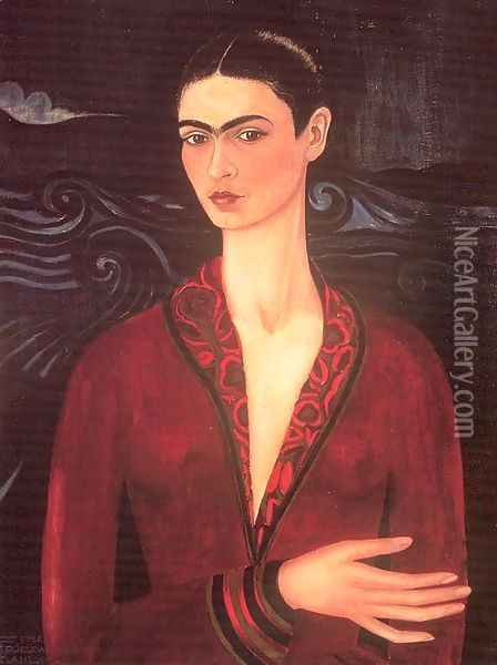Self-portrait in a Velvet Dress Oil Painting - Frida Kahlo