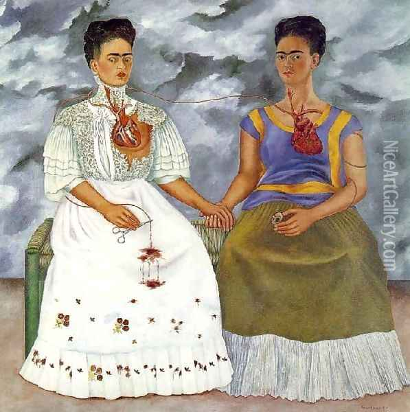 The Two Fridas Oil Painting - Frida Kahlo