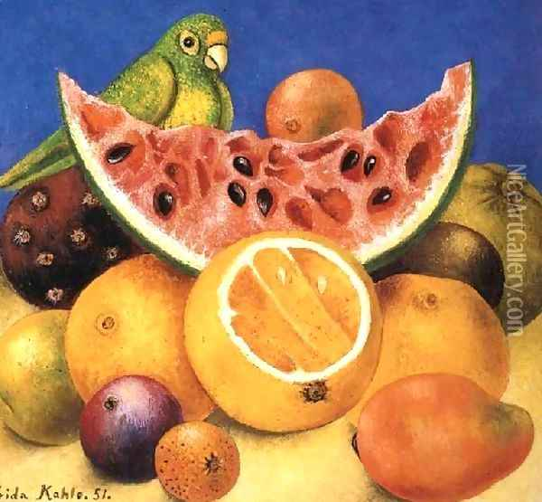 Still Life With Parrot Oil Painting - Frida Kahlo