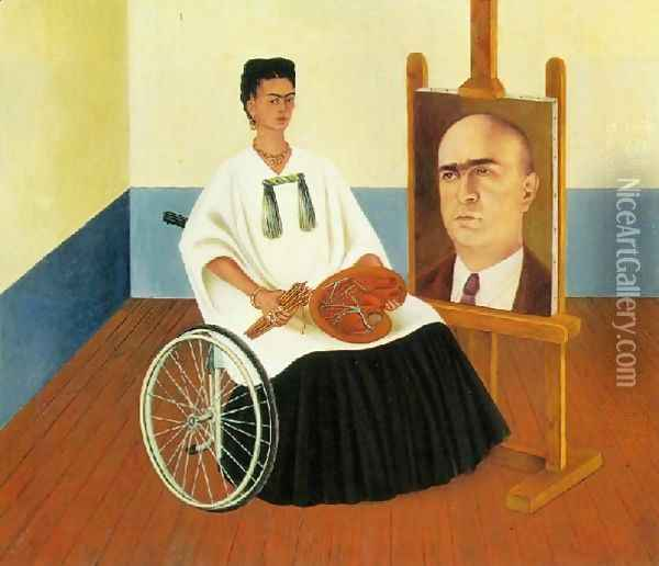 Self Portrait With The Portrait Of Doctor Farill Oil Painting - Frida Kahlo