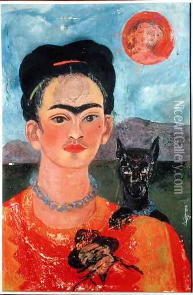 Self Portrait with Itxcuintli Dog and Sun Oil Painting - Frida Kahlo