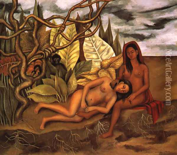 Two Nudes In A Forest 1939 Oil Painting - Frida Kahlo