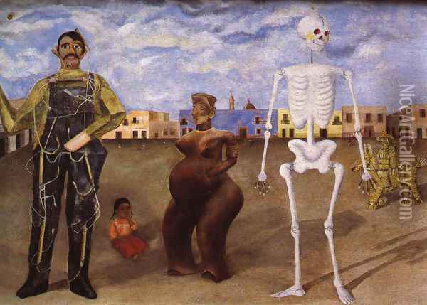 Four Inhabitants Of Mexico City 1938 Oil Painting - Frida Kahlo