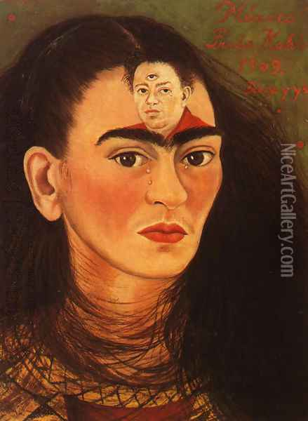 Diego And I 1949 Oil Painting - Frida Kahlo