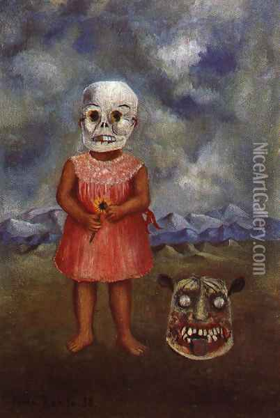 Girl With Death Mask 1 1938 Oil Painting - Frida Kahlo