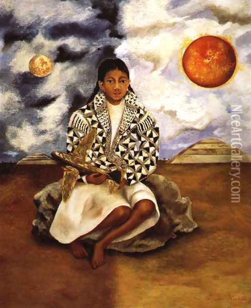 Portrait Of Lucha Maria Girl From Tehuacan 1942 Oil Painting - Frida Kahlo