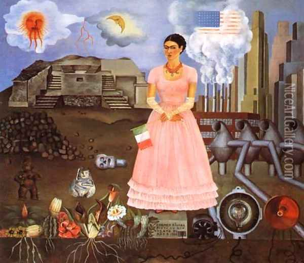 Self Portrait On The Borderline Between Mexico And The United States 1932 Oil Painting - Frida Kahlo