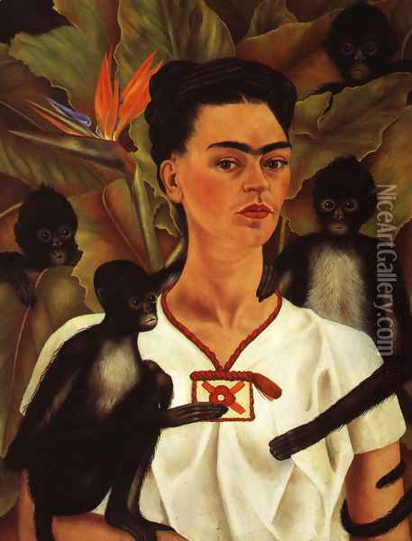 Self Portrait With Monkey 1943 Oil Painting - Frida Kahlo