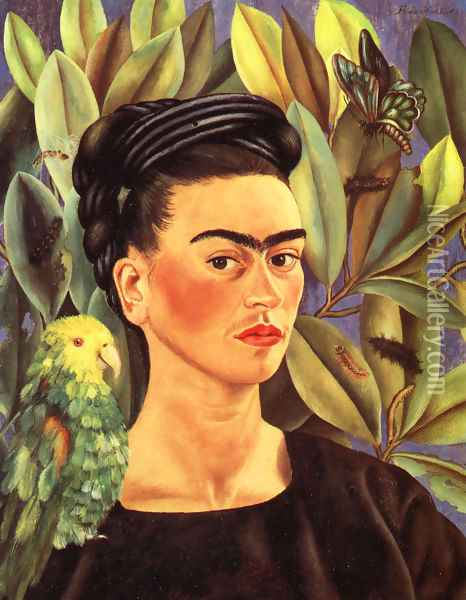 Self Portrait With Bonito 1941 Oil Painting - Frida Kahlo