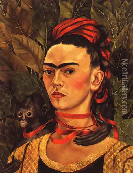 Self Portrait With Monkey 1940 Oil Painting - Frida Kahlo