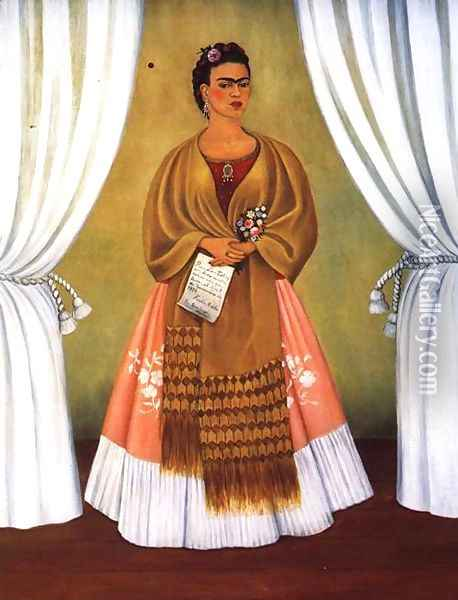 Self Portrait Dedicated To Leon Trotsky Or Between The Curtains 1937 Oil Painting - Frida Kahlo