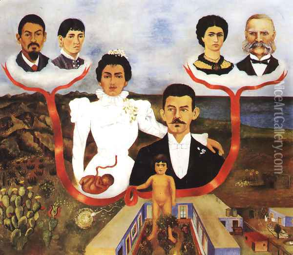 My Grandparents My Parents And I 1936 Oil Painting - Frida Kahlo