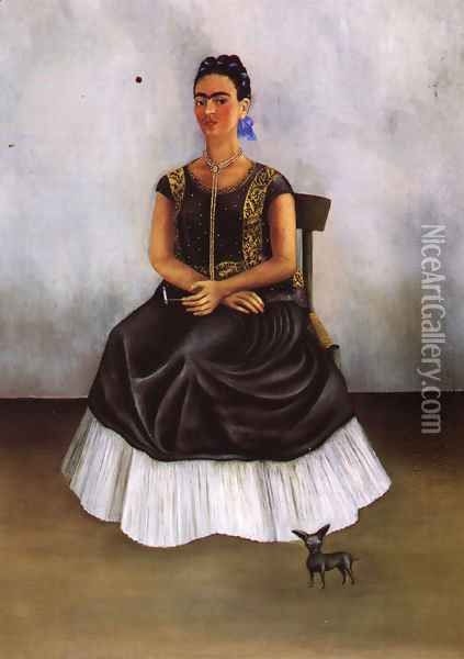 Itzcuintli Dog With Me 1938 Private Collection Oil Painting - Frida Kahlo