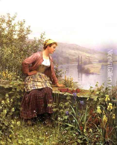Brittany Girl Overlooking Stream Oil Painting - Daniel Ridgway Knight