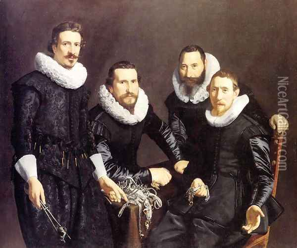 The Syndics of the Amsterdam Guild of Goldsmiths Oil Painting - Thomas De Keyser