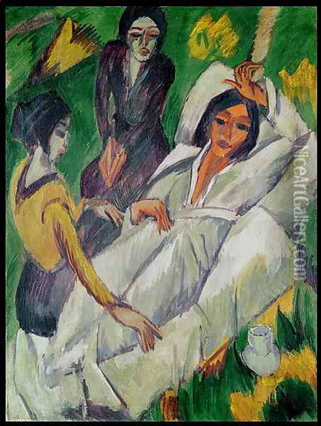 Woman at Tea Time Sick Woman Oil Painting - Ernst Ludwig Kirchner