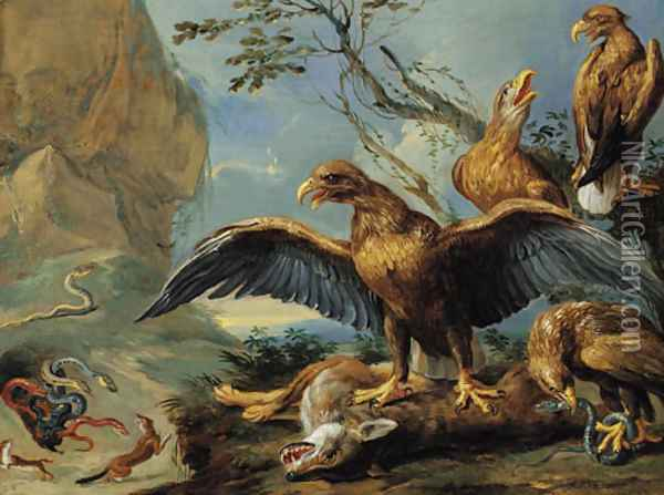 Eagles and serpents attacking foxes Oil Painting - Jan van Kessel