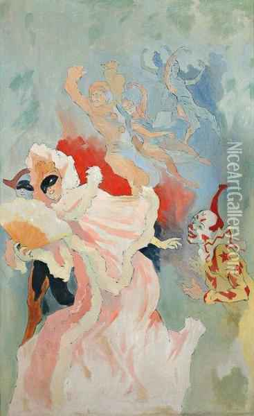 Fc Clown, Arlequin Et Colombine Oil Painting - Jules Cheret