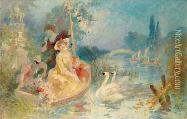 L'embarcadere Aux Cygnes Oil Painting - Jules Cheret