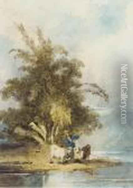 A Chinaman With Goats On A Riverbank Oil Painting - George Chinnery