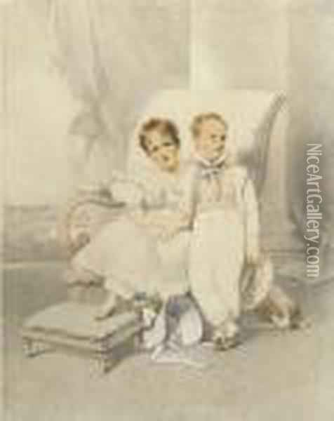 Double Portrait Of Lucy Lyman Paine Sturgis And John Hubbard Oil Painting - George Chinnery