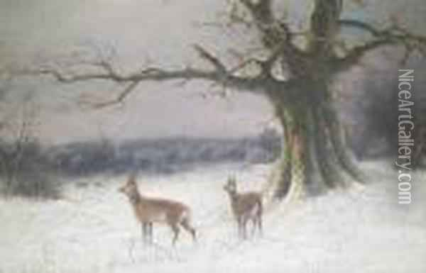 Deerin A Winter Landscape Oil Painting - Nils Hans Christiansen