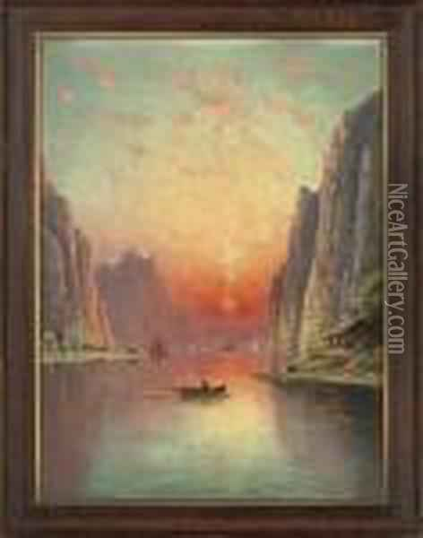 A Fjord At Sunset; And A Moonlit Fjord Oil Painting - Nils Hans Christiansen