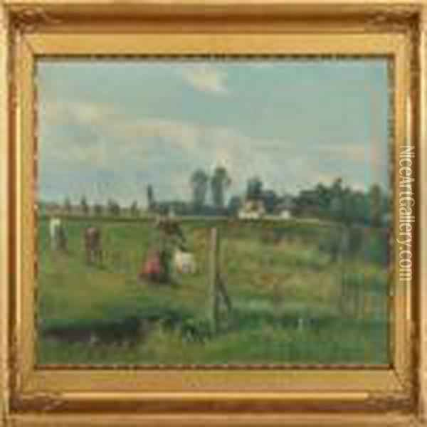 Summerlandscapewith Cows In The Field Oil Painting - Nils Hans Christiansen