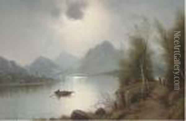A Lake By Moonlight Oil Painting - Nils Hans Christiansen