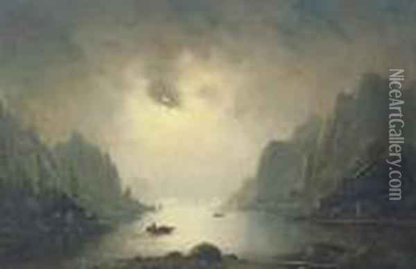 A Fjord By Moonlight Oil Painting - Nils Hans Christiansen