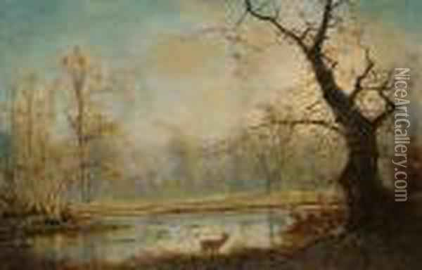 Woodland Lake Scene, With A Stag In The Foreground Oil Painting - Nils Hans Christiansen