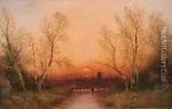 Home By Sunset; Snow At Sunset Oil Painting - Nils Hans Christiansen