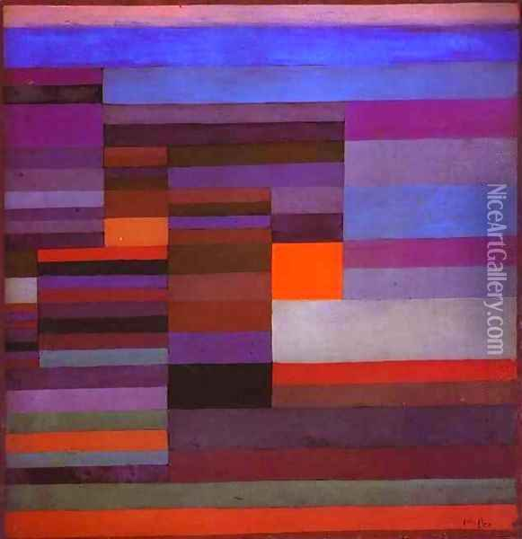 Fire in the Evening Oil Painting - Paul Klee